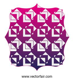 silhouette square with pattern geometric shapes background design