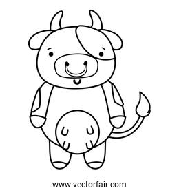 line cute and happy cow wild animal