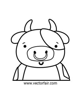 line adorable and happy cow wild animal