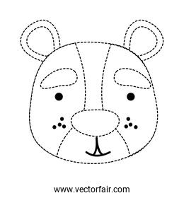 dotted shape smile bear head wild animal