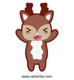line color cute and cheerful deer wild animal