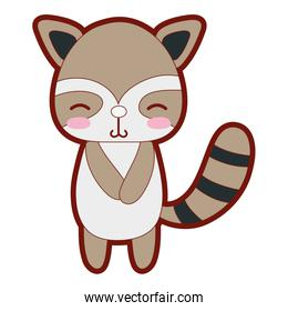 line color cute and shy raccoon wild animal