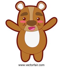 line color cute and cheerful bear wild animal