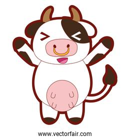 line color cute and cheerful cow wild animal
