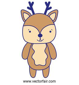 full color cute and happy deer wild animal