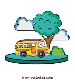 school bus in the city with clouds and tree