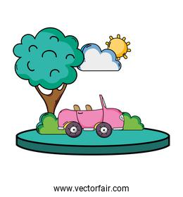 sport car in the city with tree and cloud