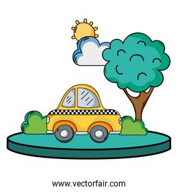 taxi car service in the city with tree