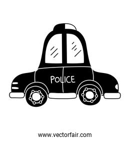silhouette emergency police car transport with siren