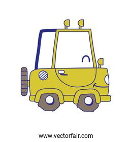 full color kawaii smile tractor vehicle transport