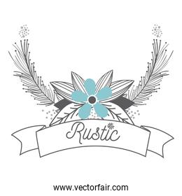 Rustic flowers with wreath hand drawn