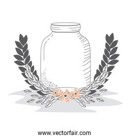 Rustic glass jar with leaves hand drawn