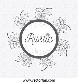 Rustic floral round frame hand drawn