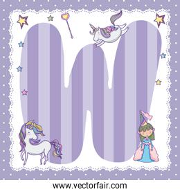 W alphabet letter decorated for kids