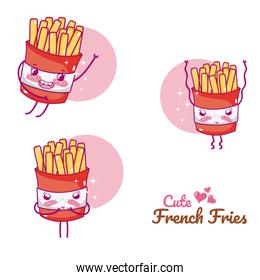 Cute french fries cartoons
