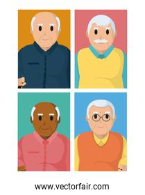 Grandparents cartoons on colorful squares