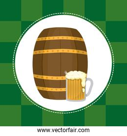Beer glass with wooden barrel St patricks day