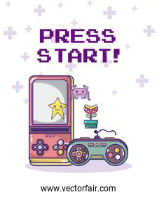 Press start retro videogame