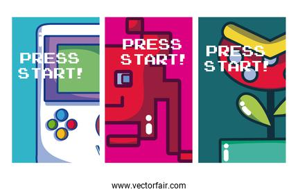 Press start retro videogames