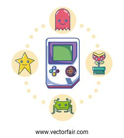 Retro videogame console with characters