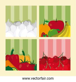 Vegetable on colorful squares