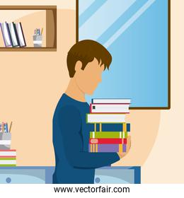 Young man studying at home