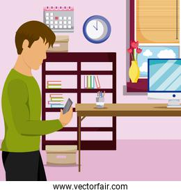 Young man using smartphone at room