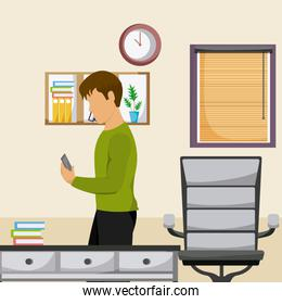 youth man using smartphone at room