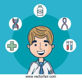 Doctor with medical round symbols