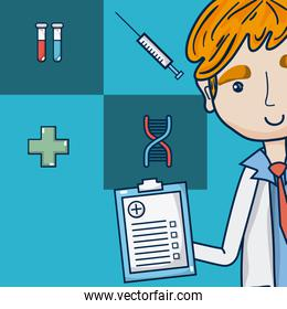 Doctor with medical symbols