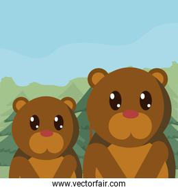 Bears family cute animals in landscape