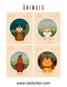 Set of cute animals cards