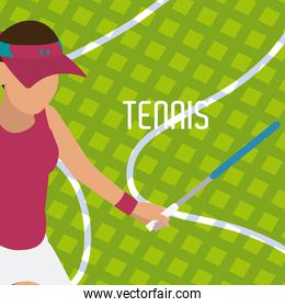 Tennis player with racket