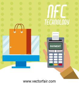 NFC technology for shopping over green with dots