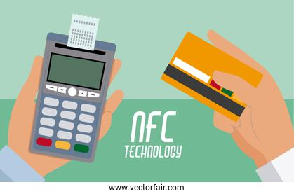 NFC technolgoy payment with dataphone and credit card