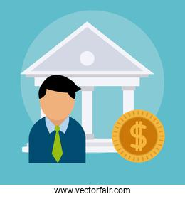 Businessman and bank concept