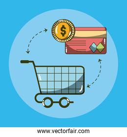 Money and shopping cart with credit card