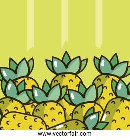 Pineapples over colorful background