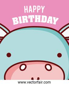 Hippo happy birthday card