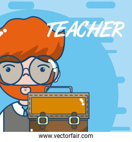Cute school teacher cartoon