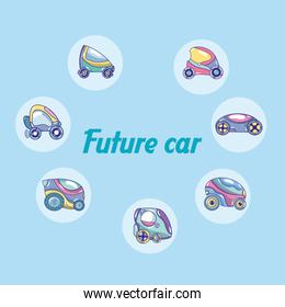 Future cars in round icons