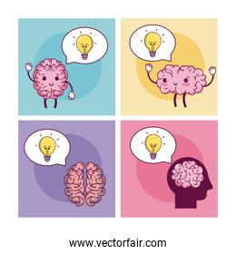 Brains cartoons in square frames