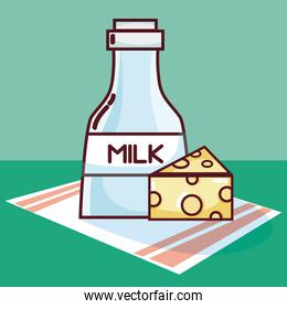 Milk bottle and cheese