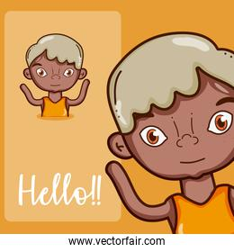 Boy saying hello cartoon