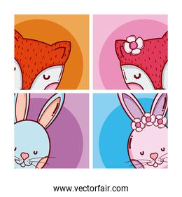 Cute and lovely animals cartoons