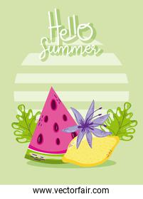Hello summer card with cute cartoons