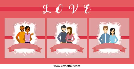 Set of love cards