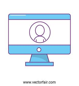 computer with avatar user isolated icon