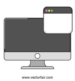 computer with web page isolated icon