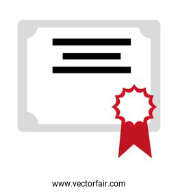 Isolated certificate with medal design